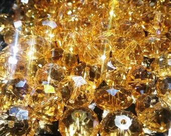 Discontinued Preciosa Bellatrix Rondelle Bead - Faceted Crystal 8X12mm - Light Colorado Topaz