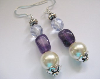 Gemstone Earrings,Drop Earrings, Amethyst  Cream Pearl, Swarovski Crystal , Purple and Cream Dangle Earrings, Wedding Jewellery
