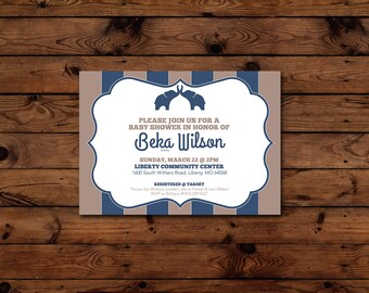 Printable Neutral Baby Shower Invitation - Elephants - 5x7