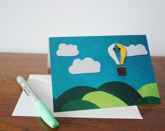 Hot air balloon greeting card, birthday card, balloon card, blank card, anniversary card