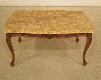 28267e french louis xiv style marble top walnut coffee table