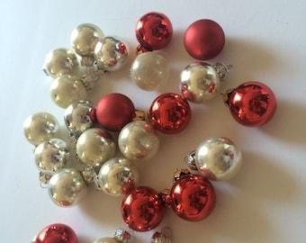 Vintage MINI Glass Ball Ornaments   Silver White Red