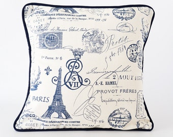 Paris 16x16 pillow, navy pillow, blue french country pillow, navy pillow cover, french country pillow cover, throw pillow with trim, cushion