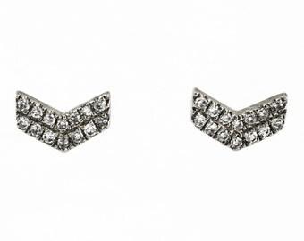 0.08ct Round Pavé Diamond in 14K White Gold Mini Chevron Stud Earrings - CUSTOM MADE