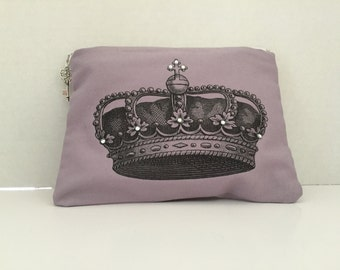 Crown and Crystal Zippered Bag