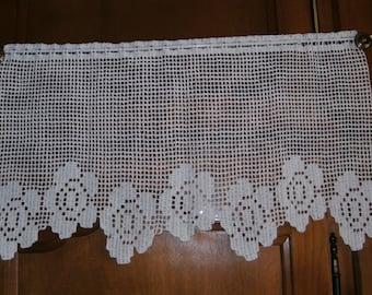 Rideau brise-vue pattern flower lace white cotton crochet hand made custom.