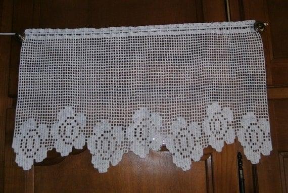 rideau brise vue motif fleurs dentelle de crochet coton blanc. Black Bedroom Furniture Sets. Home Design Ideas