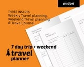 Weekend Travel planner + travel journal printable - Midori TN insert minimal planner - Travelers Notebook refill - ready to print planner