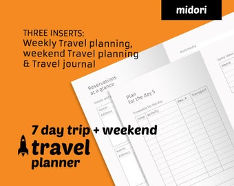 Week & Weekend Travel planner + travel journal printable - Midori TN insert - Travelers Notebook refill - ready to print travel planner