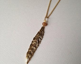Leaf necklace | willow leaf necklace | long necklace | gold necklace