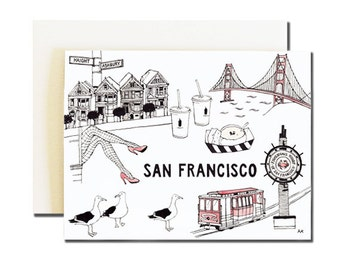San Francisco Card / SF City Card / San Francisco Art / Bay Area Card / SF Card / San Francisco Print / San Francisco Art / SF Illustration