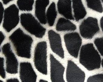"White Black Giraffe Velboa Faux Fur Fabric - Sold By The Yard - 58""/60"""