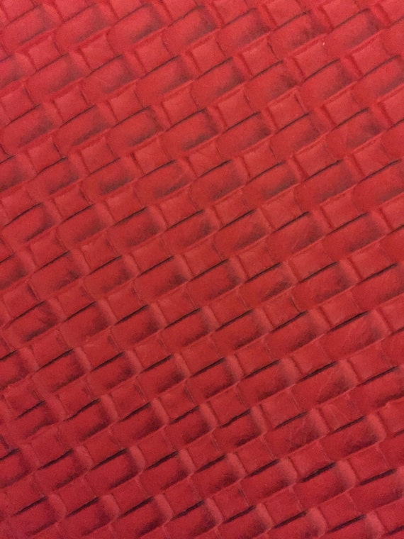 Red Basket Weave Woven Upholstery Vinyl Fabric Sold By The