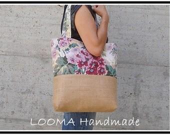 Jute Floral floral canvas bag with bottom JuteTote summer bag & Burlap jute linen bag Linen bag Shopping bag, Made in Italy