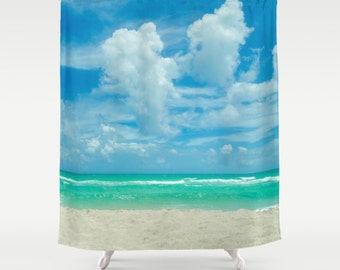 ocean shower curtain clouds kiss miami beach ocean wave blue sky bathroom beach shower curtain sea