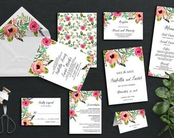 Isabella Printable Wedding Invitation+rsvp card (DIY Invitation), Watercolor Floral Invitation
