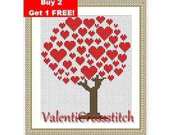 Love Tree Cross Stitch Pattern,PDF counted cross stitch, love, tree, red, cross stitch chart, modern