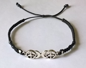 Very Nice Black thin Bracelt with Peace Sign