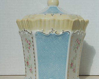Shabby Chic Porcelain Covered Jar Canister Victorian