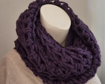 Purple Wool Cowl Scarf