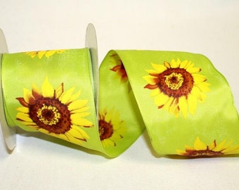 "2.5"" x 20yds SUNFLOWER Wired Edge Ribbon / lime/ 99892W-CO1-40H"
