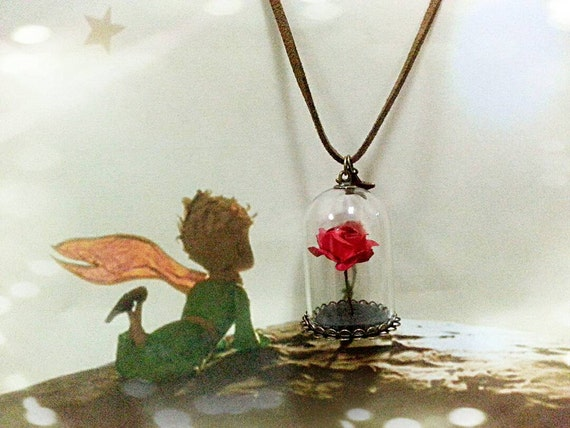 red rose in glass dome necklace the little prince by noveltyeden. Black Bedroom Furniture Sets. Home Design Ideas