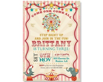 Girls Birthday Invitation, PRINTABLE Circus Tent Invites, Ferris Wheel Invitation, Vintage Carnival Party, Elephant, Come One Come All 367