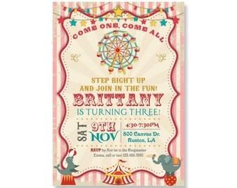 Girls First 1st Birthday Invitation, PRINTABLE Circus Tent Invites, Ferris Wheel Merry Go Round  Vintage Carnival Theme Party, Elephant 367