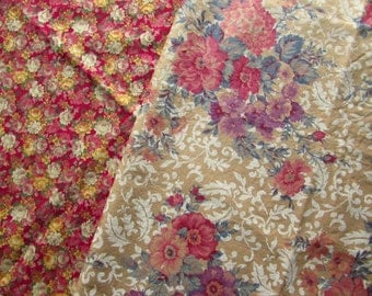 Lovely Floral Fabric with Tea Stain - 2 Different Designs