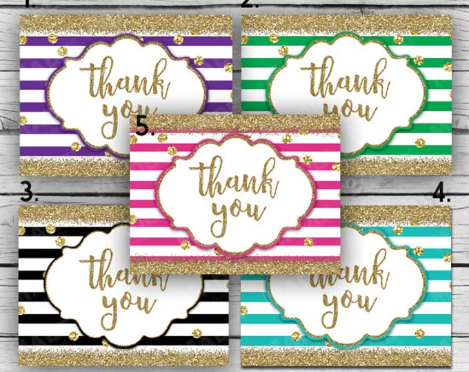 Printed GLITTER THANK YOU Note Card Set - Stripes-Gold Glitter, Motivational Cards, Printed Thank You Cards, Stationery