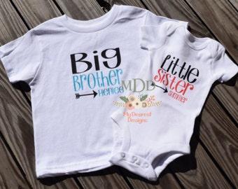 Big Brother and Little Sister Shirt Set / Sibling Shirt Set