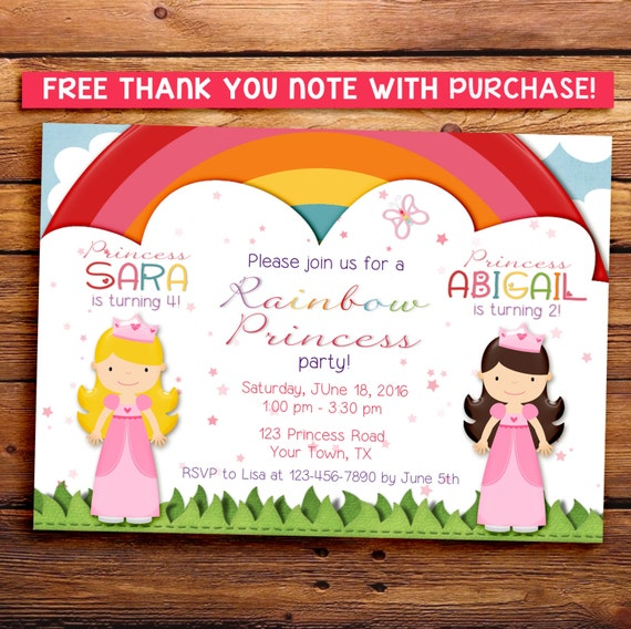 Sisters princess party invitation, two princesses party invitation, printable invitation