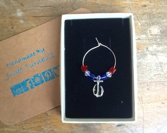 1 Wine Glass charm , red white and blue ~ Anchor charm ~ party gift ~ patriotic gift ~ Anchor wine glass charm