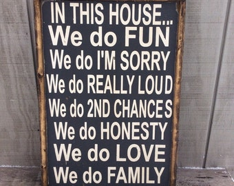 In This House Wood Sign Family Rules House Rules CUSTOM COLORS AVAILABLE