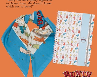 SALE! Notebook, A4 wirebound, hardback, novelty print, Bunty comic, vintage, paper doll, nightwear REDUCED