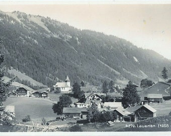 Lauenen, Switzerland, Vintage Real Photo Postcard, ca. 1930's