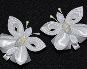 Pair of Handmade Girl's/Baby Butterfly Clips/Bows, Kanzashi Style, Wedding/Christening