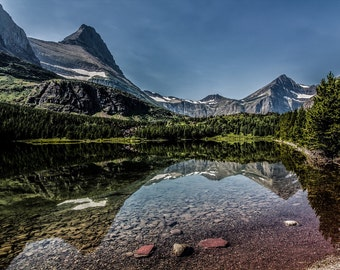 REDROCK LAKE GLACIER national park montana big sky lake water reflection nature mountains forest many glacier