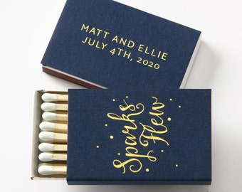 SPARKS FLEW Matchboxes - Wedding Favors, Wedding Matches, Wedding Decor, Personalized Matches, Custom Matchboxes, Match Box Favor, Gold Foil