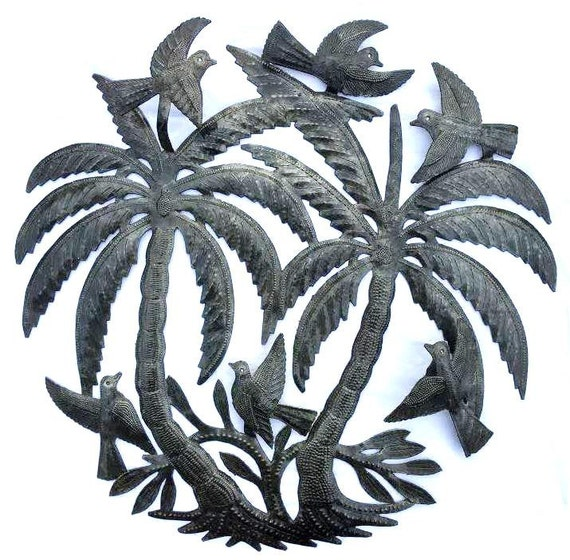 palm tree with birds wall sculpture metal wall art fair. Black Bedroom Furniture Sets. Home Design Ideas