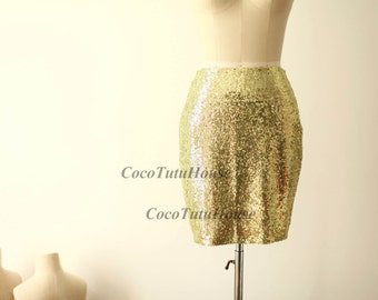 Light Gold Sequin Skirt Fitted Tight Pencil Skirt Bridesmaid Skirt Short Sequin Skirt/Bridesmaid/Valentine's Day Gift