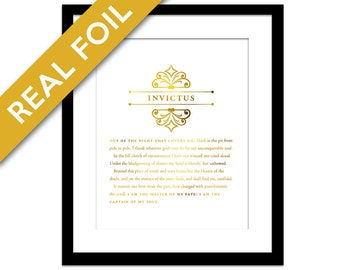 Invictus Gold Foil Art Print - Master of My Fate Captain of My Soul - Literary Quote - Inspirational Motivational Print - Graduation Gift