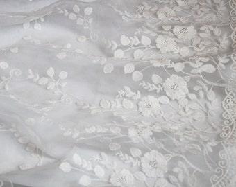 Width 51.18 inches ivory wedding lace fabric, bridal lace fabric,3D flower lace fabric,fabric for bridal,for DIY dress,width 130cm(86-8)