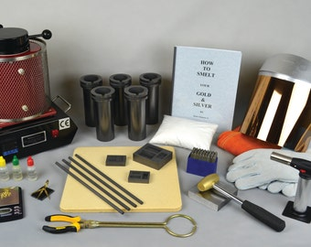 1, 2 or 3 KG All INCLUSIVE Gold Silver Smelting Kit w/ Electric Melting Furnace and Everything You Need to Start Melting/Refining Today!