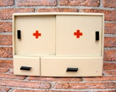 Very Rare Vintage Wooden Medicine Apothecary, Old Drug Store Apothecary Medical, Wooden Box RED CROSS, Wall Hanging, Small  Wooden Cabinet