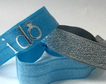 """Blue """"I do""""  Hair Tie Set"""