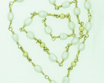 Freshwater Pearl and 14ct Gold Necklet / Necklace (SKU230)