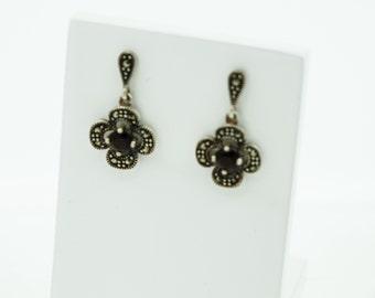 Silver Garnet and Marcasite earrings  SKU692