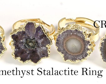 Gold Plated AMETHYST STALACTITE Adjustable Ring (R15CN)