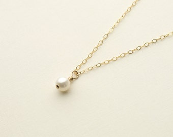 Delicate Pearl Necklace, gold fill pearl necklace bridesmaid pearl necklace bridal pearl necklace pearl jewelry June birthstone single pearl